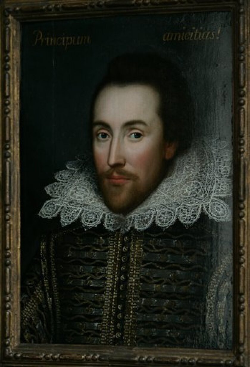 FILE - This is a  Monday March 9, 2009 file of a then newly discovered portrait of William Shakespeare, presented by the Shakespeare Birthplace trust, is seen in central London,  New research depicts William Shakespeare as a grain hoarder, moneylender and tax dodger who became a wealthy businessman