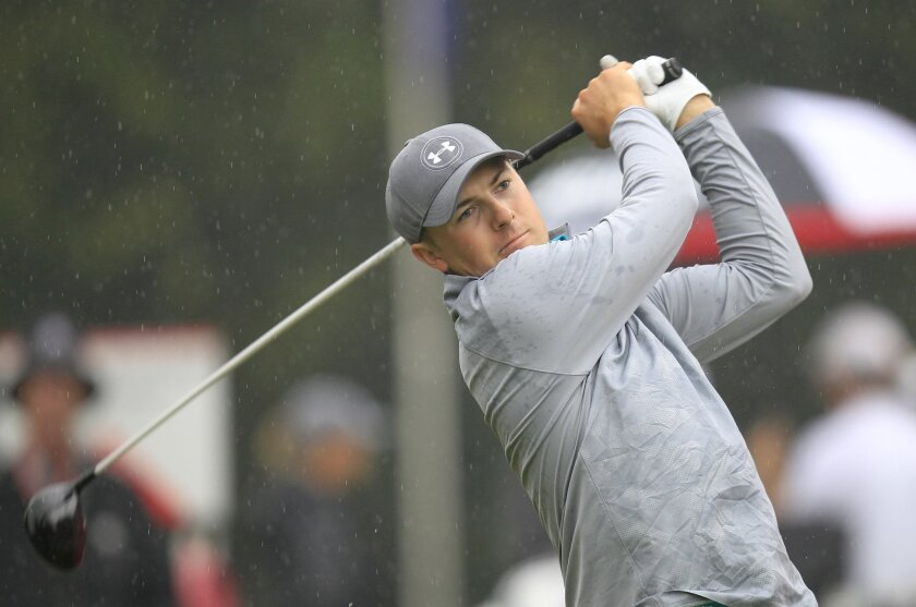 Jordan Spieth of the United States tees off on the 10th hole during the Pro-Am event of the HSBC Champions golf tournament at the Sheshan International Golf Club in Shanghai, China Wednesday, Nov. 4, 2015. (AP Photo)