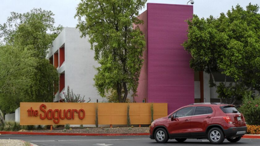 SCOTTSDALE, ARIZONA - The colorfully-painted Saguaro hotel in Scottsdale is ideally situated just st