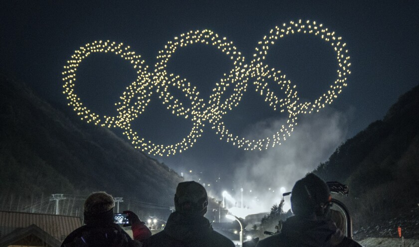 Intel Shooting Star drones form the Olympics rings as part of the Olympic Winter Games PyeongChang 2018 opening ceremony drone light show. Intel will provide drone technology at the Olympic Winter Games, which begin Feb. 9, 2018, in South Korea. (Credit: Intel Corporation)