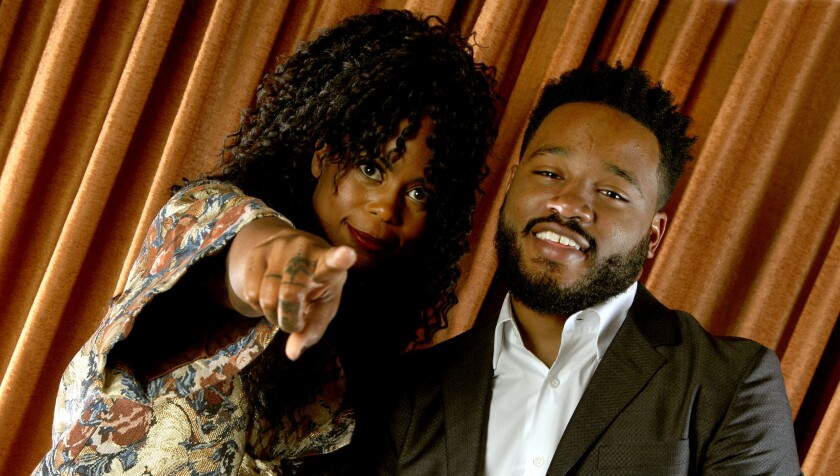 "Hannah Beachler, production designer, and Ryan Coogler, director, of ""Black Panther."""