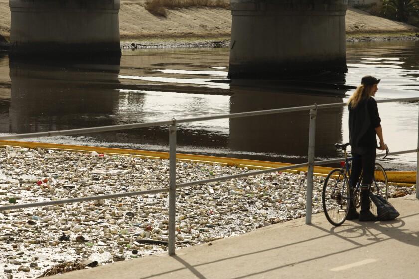 Joey Peters with his bike along Ballona Creek