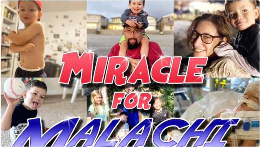 A photo collage of Malachi Bernal and his family on a GoFundMe page set up for them following the 3-year-old's near drowning.