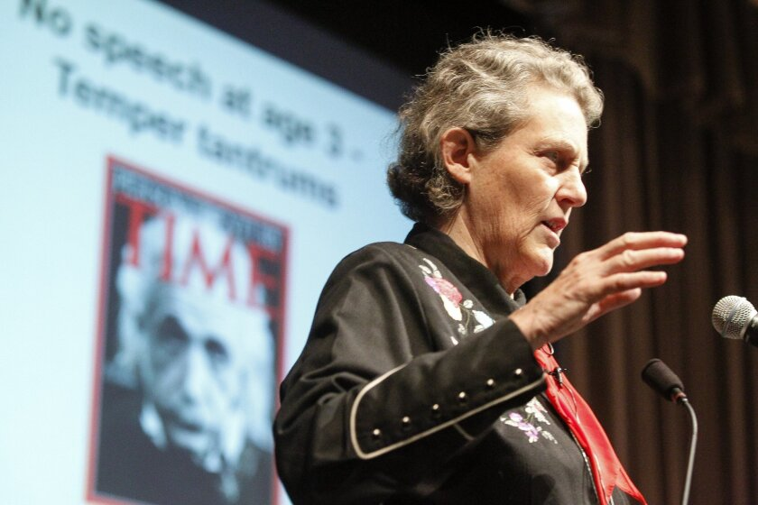Autism advocate Temple Grandin speaks at the Shiley Theater at USD in San Diego on Thursday.