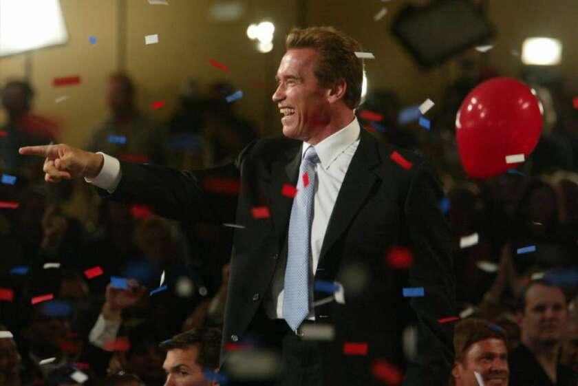 Arnold Schwarzenegger celebrates his election as California governor on Oct. 7, 2003.