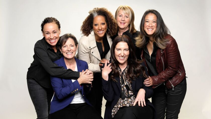 """Jessica Jones"" directors from left: Zetna Fuentes, Mairzee Almas, Millicent Shelton, Liz Friedlander, Rosemary Rodriguez and Jet Wilkinson."