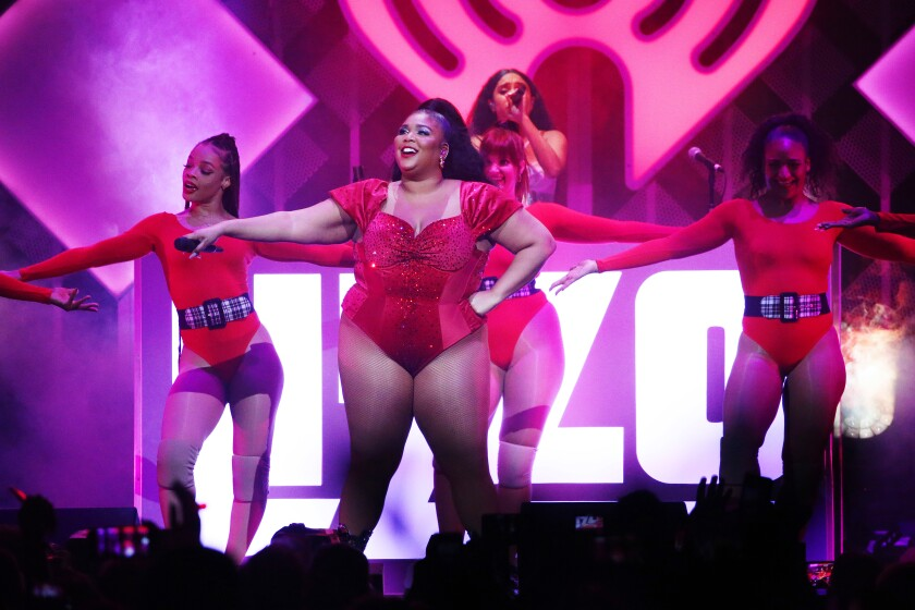 Lizzo performs onstage during Q102's Jingle Ball 2019 on Wednesday in Philadelphia.