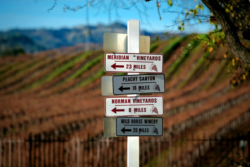 A sign at Justin Vineyards outside Paso Robles.