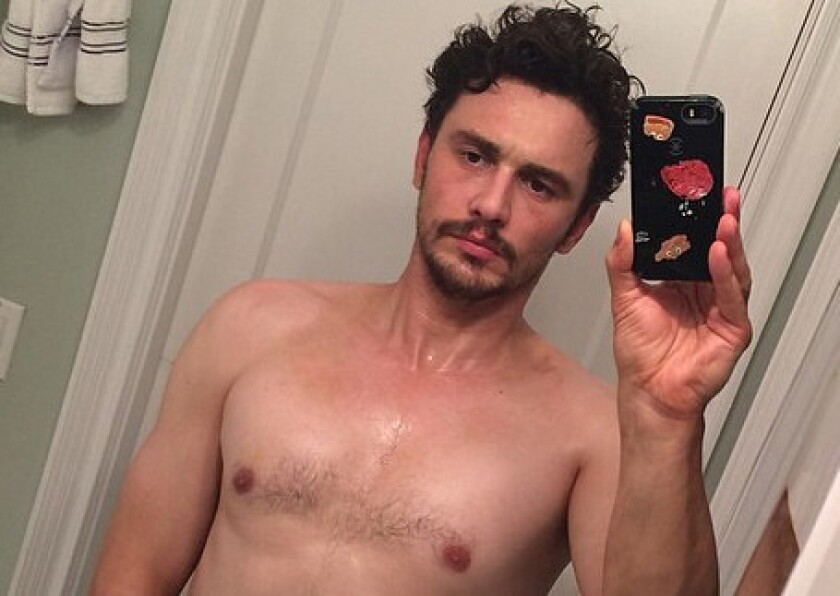This is a cropped version of the selfie that James Franco posted Thursday night on Instagram. Hours later, he took the image down.