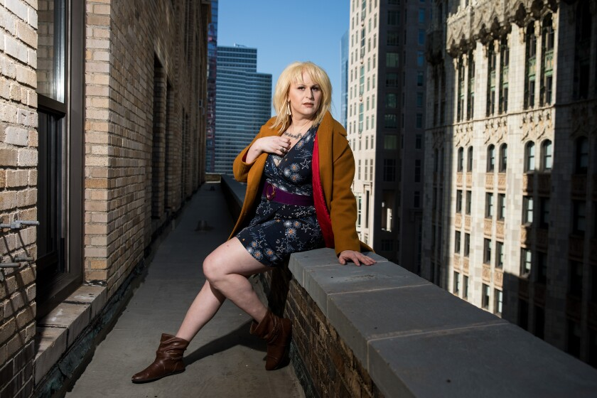 "Shakina Nayfack, actress and transgender activist, poses for a portrait ahead of the release of the new U.S. dub of a cult favorite Japanese anime, ""Tokyo Godfathers,"" in which she has a starring voice role."