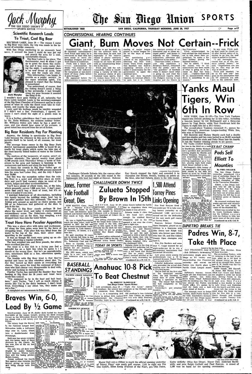 A Sports page from The San Diego Union-Tribune on June 20, 1957