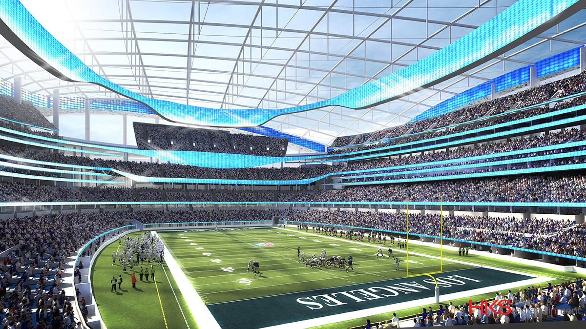 An artist's rendering of the proposed Inglewood stadium.