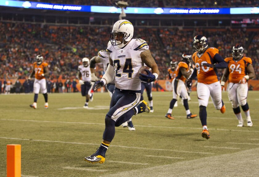 It wasn't just this 23-yard touchdown run by Ryan Mathews. The Denver Broncos seemed at least a step behind the Chargers much of the night when they last met, Dec. 12, 2013, at Sports Authority Field.