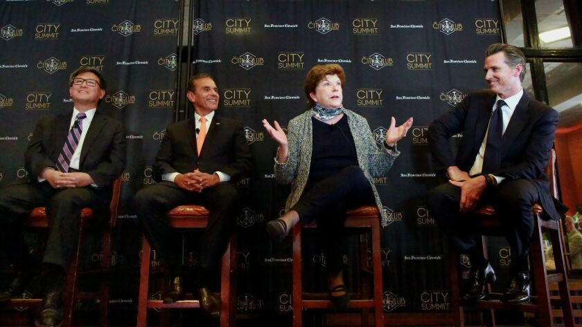 State Treasurer John Chiang, former Los Angeles Mayor Antonio Villaraigosa, former state schools chief Delaine Eastin and Lt. Gov. Gavin Newsom, from left, face off at a debate Tuesday at the City Club of San Francisco.