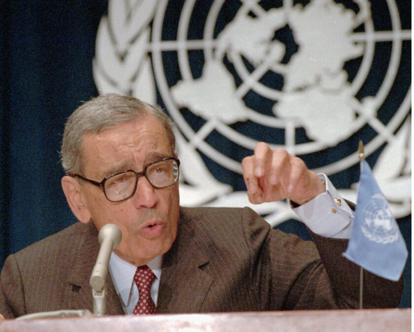 United Nations Secretary General Boutros Boutros–Ghali at a 1994 news conference.