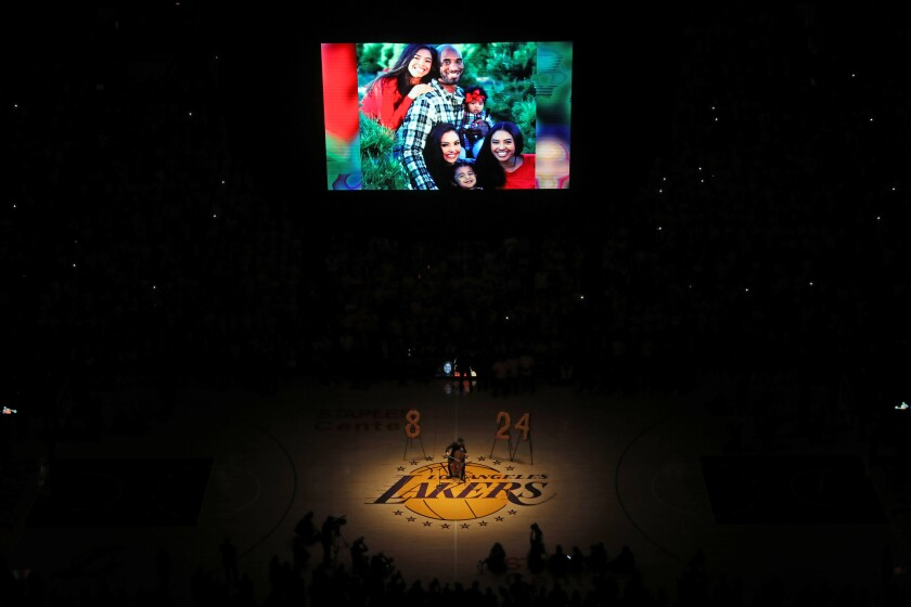 Cellist Ben Hong of the L.A. Philharmonic performs a tribute to Kobe Bryant on Jan. 31, 2019, at Staples Center.