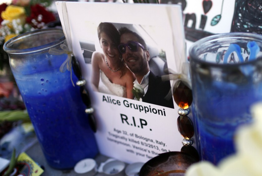 Alice Gruppioni was fatally struck by a car on the Venice boardwalk last year.