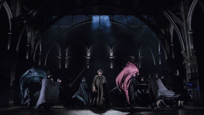 "Brian Abraham (center) and the company of Harry Potter and the Cursed Child performs in ""Harry Potte"