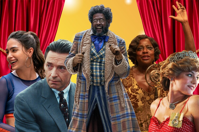 """A montage of images from """"In the Heights,"""" left, """"Bad Education,"""" """"Jingle Jangle,"""" """"Ma Rainey's Black Bottom,"""" """"The Crown."""""""