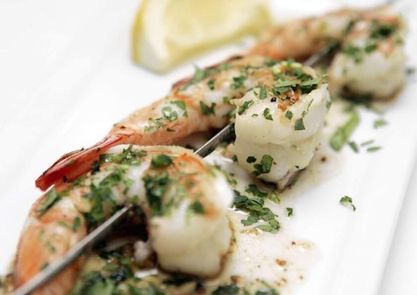 Gambas al ajillo (shrimp sautéed in olive oil and garlic) at Bar Pintxo in Santa Monica.