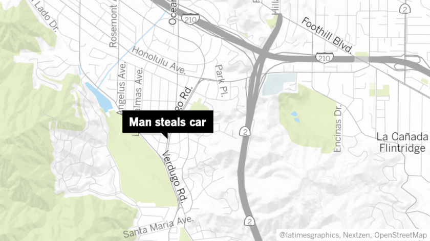 A carjacking suspect reportedly threatened a man in La Crescenta into handing over his vehicle after claiming he had a gun, according to Glendale police.