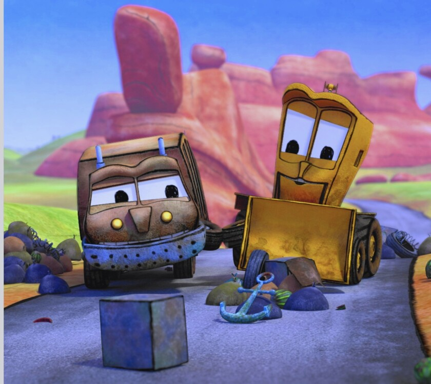 """""""The Stinky and Dirty Show"""" is a """"Cars""""-type cartoon about a garbage truck and a backhoe."""