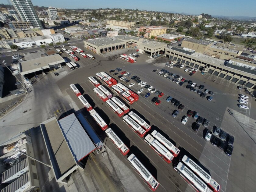 View looking east from Tailgate Park with the MTS bus yard in the foreground.