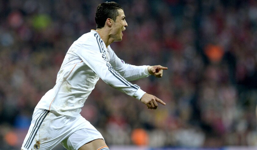 Cristiano Ronaldo celebrates after scoring in Real Madrid's 4-0 victory over Bayern Munich in a Champions League semifinal game.
