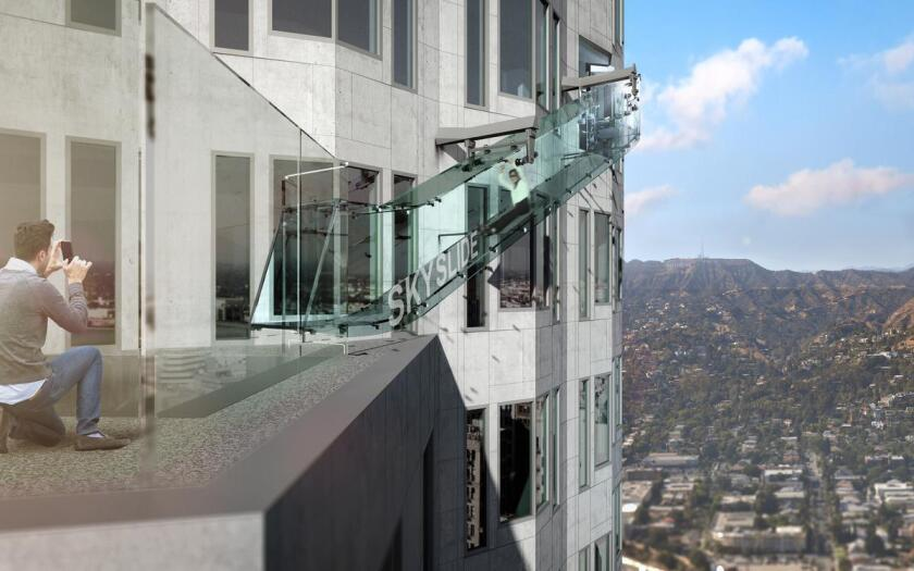 An artist's rendering shows a glass slide off the side of the U.S. Bank Tower. The ride from the 70th floor to the 69th floor will cost thrill-seekers $8.