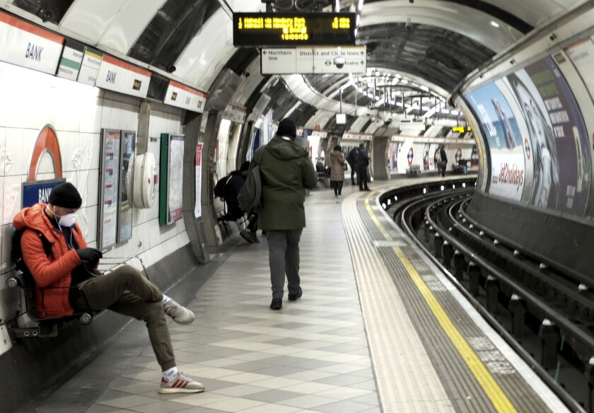 A platform of the Bank Underground station, which would normally be very busy with commuters, in London on March 24, 2020. With the highly contagious COVID-19 pandemic and jobless rate, few Britons are riding Underground trains.
