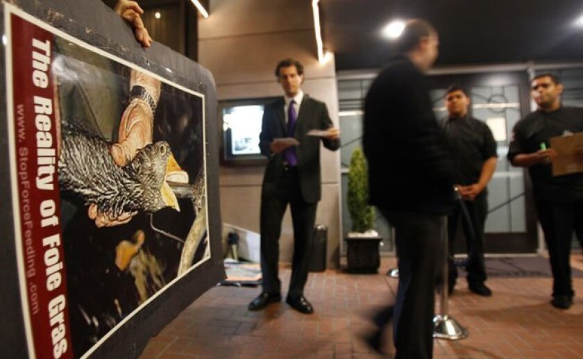 The February protest outside Bice Restaurant: Inside diners ate an eight-course foie gras meal.