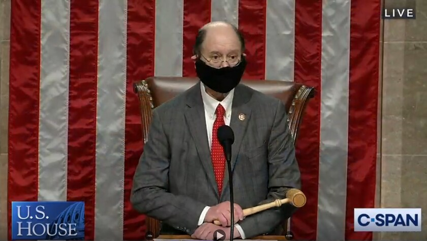 Rep. Brad Sherman (D-Northridge) wears a face covering as he presides over a brief session of the House of Representatives.