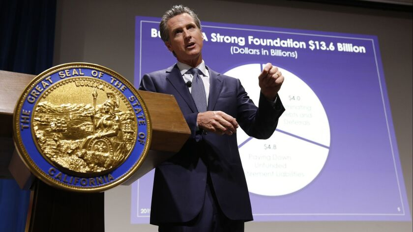 California Gov. Gavin Newsom presents his first state budget during a news conference in Sacramento on Jan. 10.