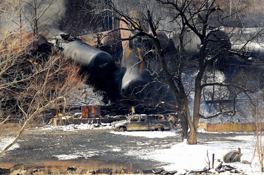 The aftermath of a train derailment near Mount Carbon, W. Va., on Tuesday, Feb. 17, 2015. A CSX train carrying more than 100 tankers of crude oil derailed in a snowstorm a day earlier.
