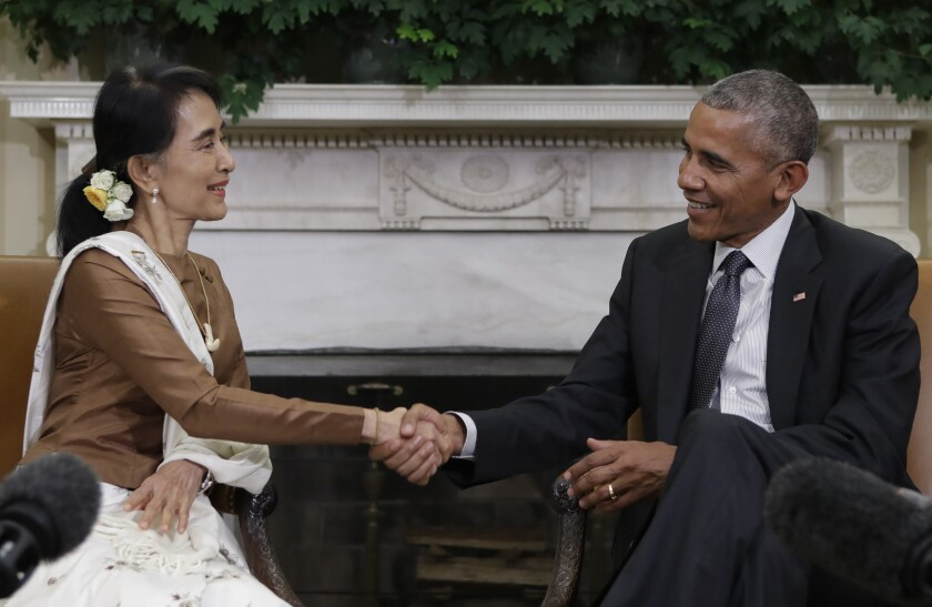 President Obama and Myanmar leader Aung San Suu Kyi shake hands Sept. 14 at the White House.