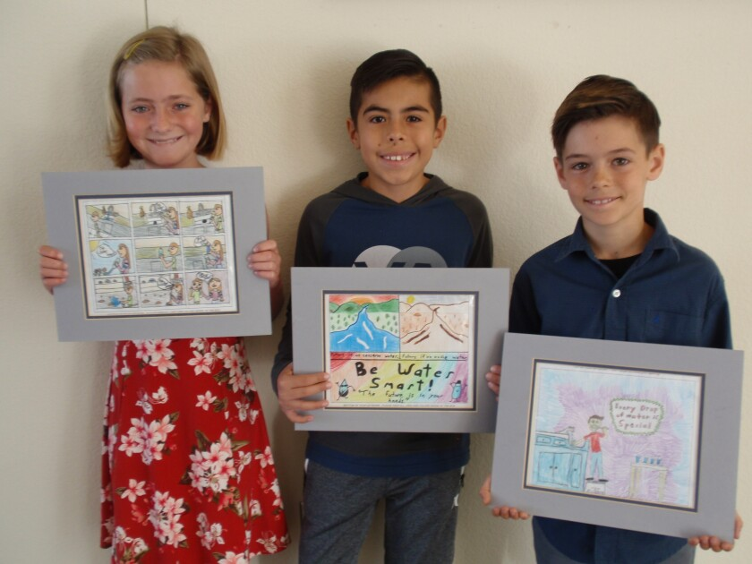 Vista Irrigation District recently presented awards to fourth-grade students Teagan Smith, Jack White and Adam Canfield for their entries in the 2019 Water Awareness Poster Contest.