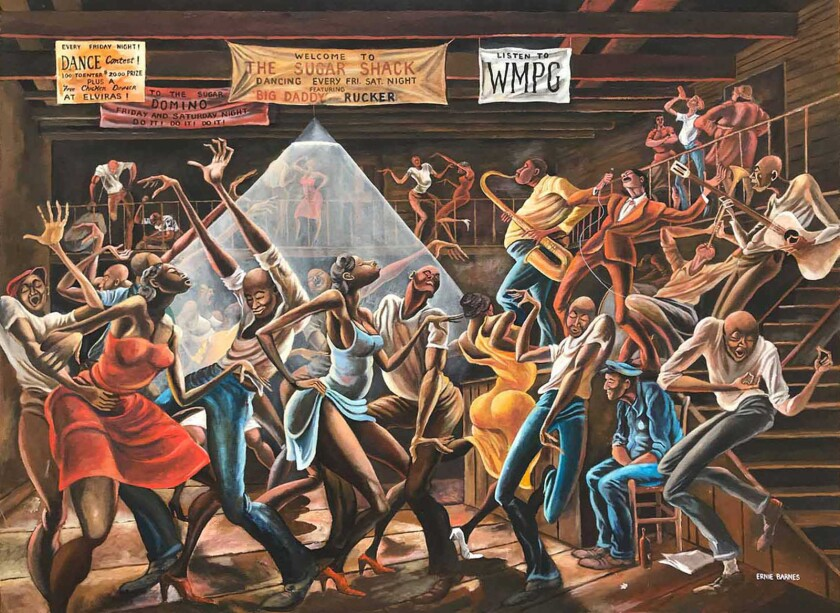The Sugar Shack (1976) Acrylic on canvas by Ernie Barnes 36 in. x 48 in. Collection of Jeannie and J