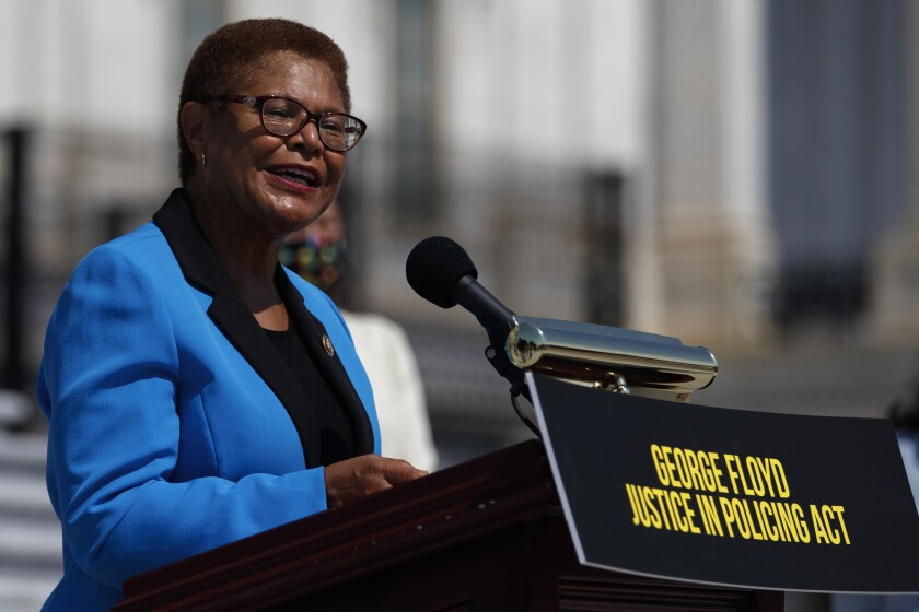 Rep. Karen Bass speaks during a news conference on the House East Front Steps on Capitol Hill.