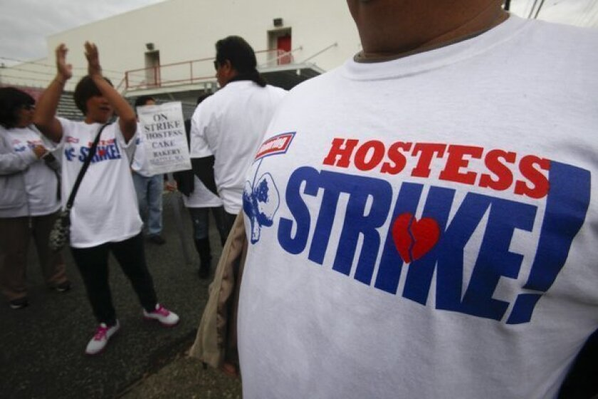 Striking workers picket at the Hostess Bakery in Los Angeles.