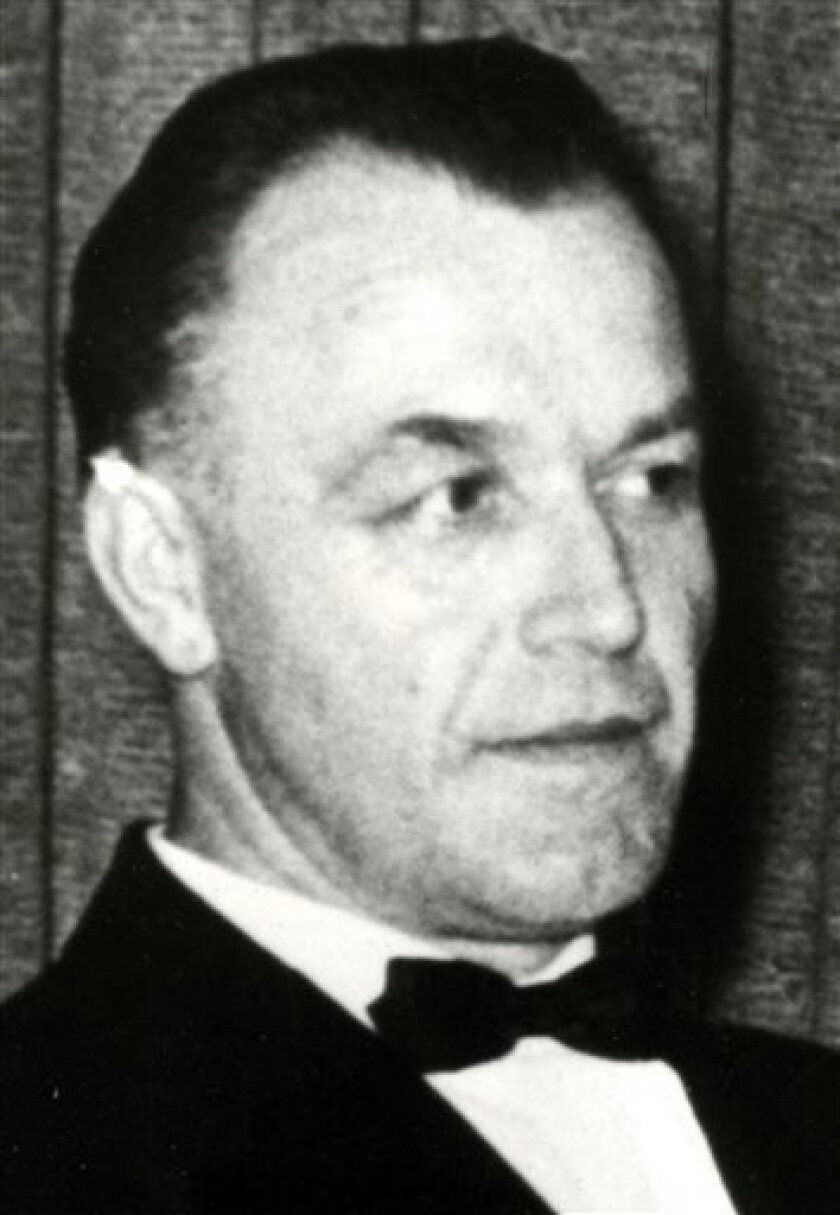 In this 1959 file photo released by the State Office of Criminal Investigation in Stuttgart, southern Germany, Dr. Aribert Heim, a former Nazi concentration camp doctor and wanted war criminal, is seen at unknown location. Documents have surfaced in Egypt showing the world's most-wanted Nazi war criminal, concentration camp doctor Aribert Heim, died in Cairo in 1992, Germany's ZDF television and The New York Times reported Wednesday, Feb. 4, 2009. The report said Heim was living under a pseudonym and had converted to Islam by the time of his death from intestinal cancer. (AP Photo/State Office of Criminal Investigation of Baden-Wuerttemberg) ** EDITORIAL USE ONLY *