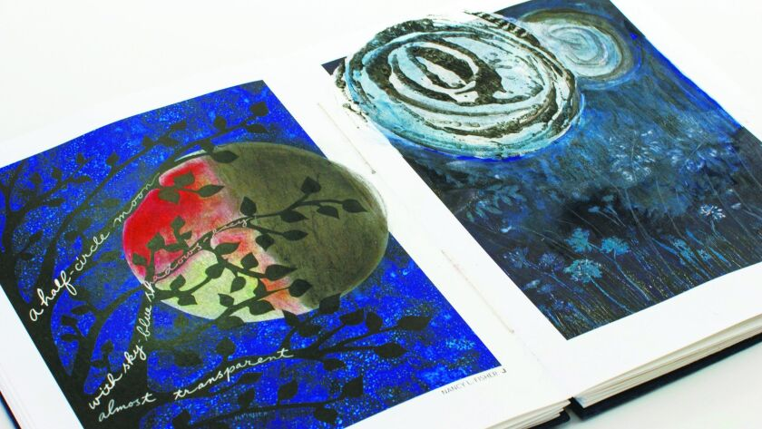 """A spread from one of the books in the """"Over the Moon"""" project, a collaborative work created by 40 San Diego artists."""