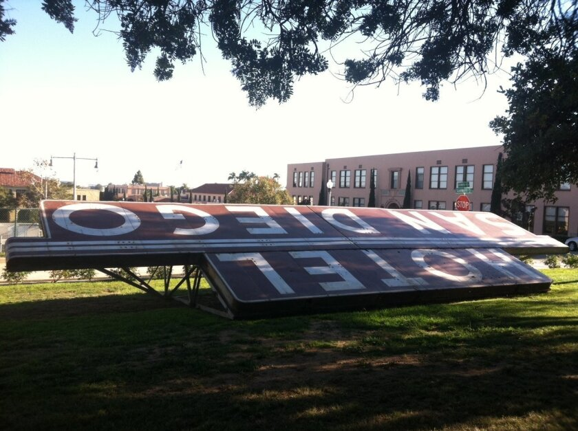 The Hotel San Diego sign is to be relocated about 50 feet from its present spot and restored.