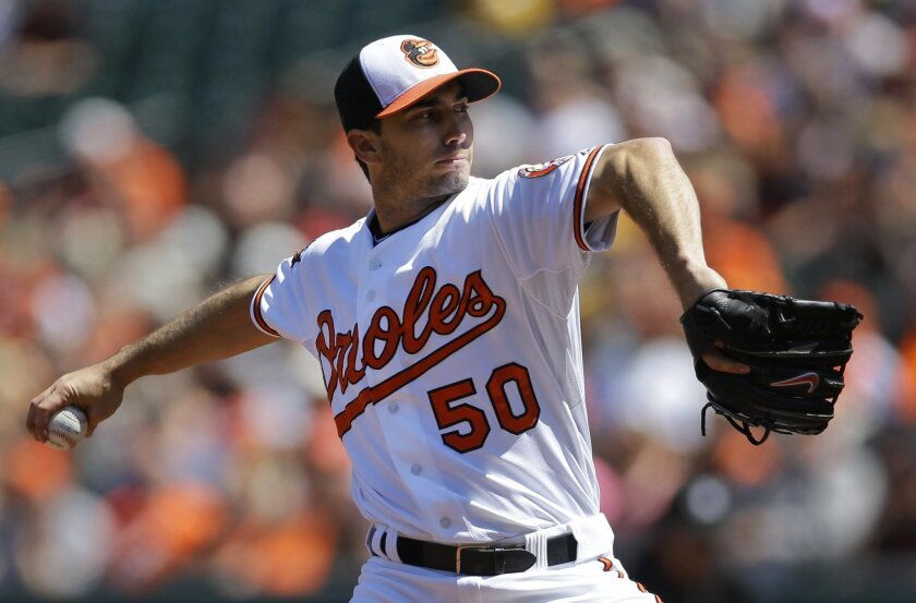 Baltimore Orioles starting pitcher Miguel Gonzalez throws to the Kansas City Royals in the first inning of a baseball game on Sunday, April 27, 2014, in Baltimore. (AP Photo/Patrick Semansky)