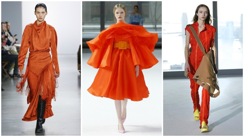 Shades of orange on the New York Fashion Week fall/winter 2020 runway