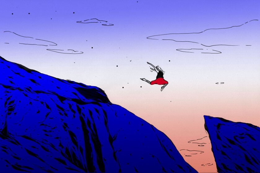 Illustration shows a person joyfully leaping over a chasm, taking a risk.