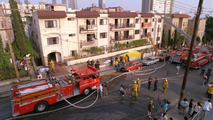 The scene of the 1993 Westlake apartment fire that left 10 people dead.