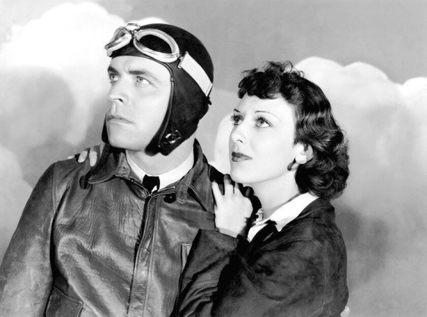 """Lyle Talbot, shown with Ann Dvorak in 1934's """"Murder in the Clouds,"""" was a contract actor with Warner Bros. who got his start in a traveling carnival."""