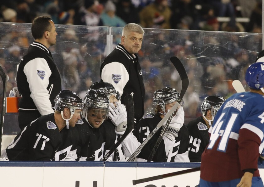 Kings coach Todd McLellan in the first period against the Colorado Avalanche.