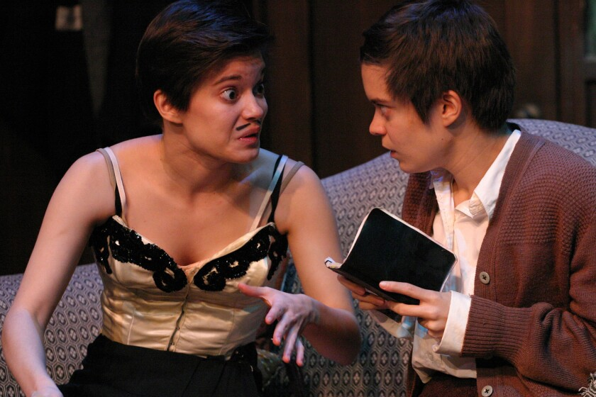 """Real-life twins Emily and Elizabeth Hinkler play Magda and Matilde, twin sisters who dream of a life in the theater in 1930s Berlin in """"My Sister,"""" Janet Schlapkohl's play directed by Ron Sossi and Paul David Story at the Odyssey Theatre."""