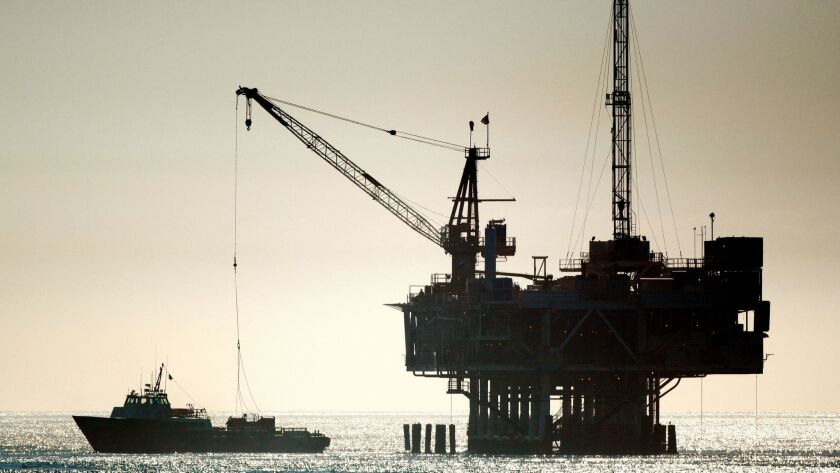 An oil drilling platform is seen off Seal Beach on Jan. 4, 2018. California is one of many states that object to the Trump administration's offshore drilling plan.